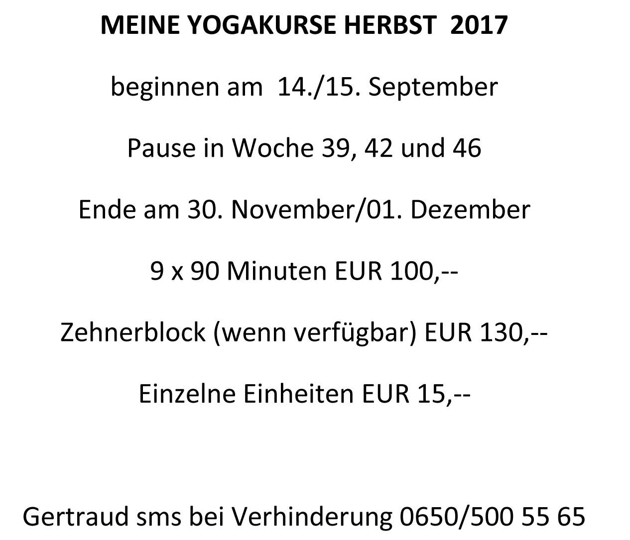 Vorschau Yoga Kurse Kuchl Herbst 2017 Kopie